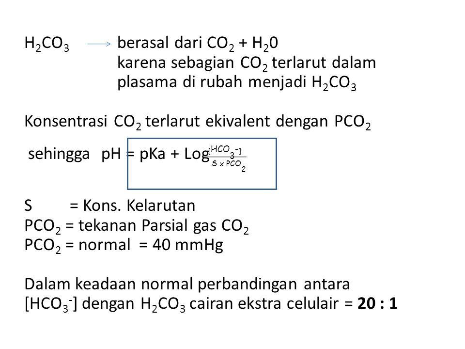 H2CO3 berasal dari CO2 + H20 karena sebagian CO2 terlarut dalam plasama di rubah menjadi H2CO3 Konsentrasi CO2 terlarut ekivalent dengan PCO2 sehingga pH = pKa + Log S = Kons. Kelarutan PCO2 = tekanan Parsial gas CO2 PCO2 = normal = 40 mmHg Dalam keadaan normal perbandingan antara [HCO3-] dengan H2CO3 cairan ekstra celulair = 20 : 1